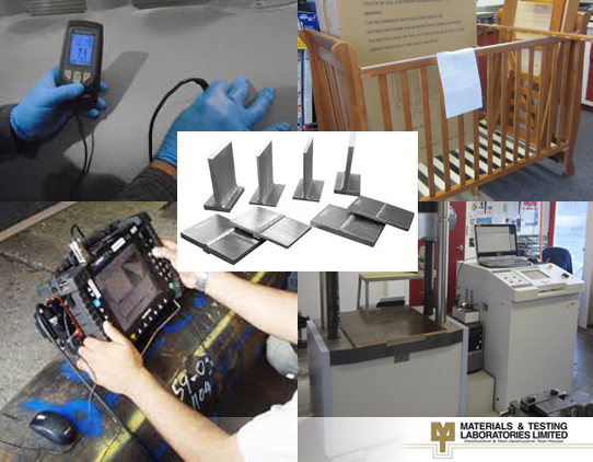 An collage image showing various testing techniques offered by Materials & Testing Laboratories Ltd.